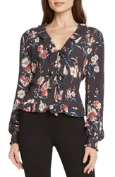 Willow And Clay Floral Smocked Blouse Steel