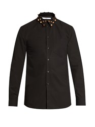 Givenchy Cuban Fit Studded Collar Cotton Shirt Black
