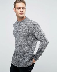 New Look Crew Neck Jumper In Grey With Rolled Hem Grey