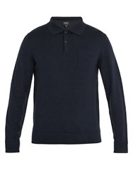 A.P.C. Ricky Long Sleeved Wool Polo Shirt Navy