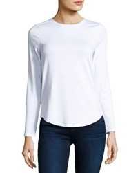 Neiman Marcus Basic Crewneck Long Sleeve Tee White