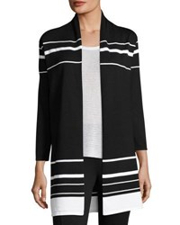 Joan Vass 3 4 Sleeve Open Front Striped Cardigan Black White