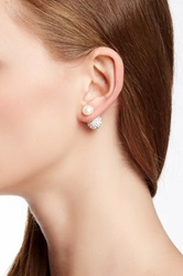 Imperial Pearls Sterling Silver 8 9Mm Freshwater Pearl And Pave Crystal Ball Double Sided Stud Earrings White