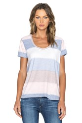 Une Lacey Loose V Neck Tee Pink