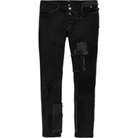 River Island Mens Black Design Forum Patchwork Jeans