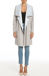 Badgley Mischka Women's Colorblock Faux Suede Draped Coat