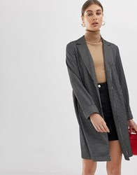 Pieces Check Lightweight Spring Coat Black