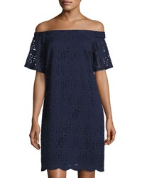 Maggy London Off The Shoulder Lace Dress Navy