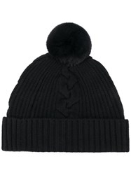 N.Peal Fur Bobble Hat Black