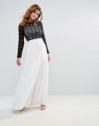 Club L High Neck Maxi Dress With Contrast Crochet Lace Black And White