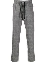 Dolce And Gabbana Drawstring Check Trousers Black