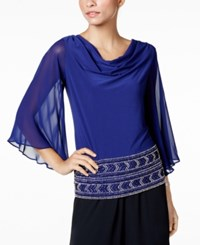 Msk Beaded Cowl Neck Blouse Midnight