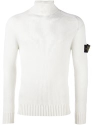 Stone Island Turtleneck Ribbed Jumper White