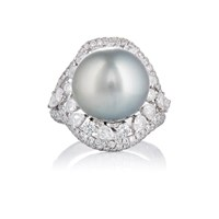 Zoe Tahitian Pearl And Diamond Cocktail Ring