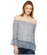 Lucky Brand Maze Off The Shoulder Top Blue Multi Women's Long Sleeve Pullover