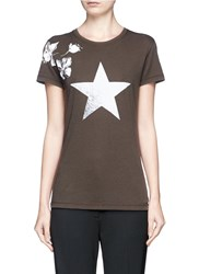 Valentino Vintage Star And Flower Print T Shirt Green