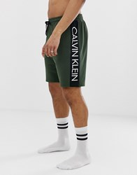 Calvin Klein Statement 1981 Bold Logo Shorts In Green