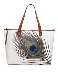 Elliott Lucca Aria Large Floral Print Tote Bag White Peacock