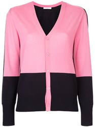 Astraet Contrast Button Up Cardigan Wool Pink Purple