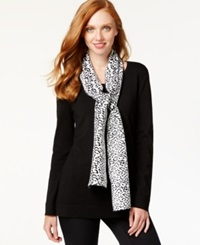 Cable And Gauge Scoop Neck Sweater And Printed Scarf Black Ivory