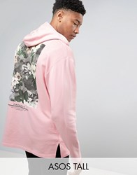 Asos Tall Oversized Longline Hoodie With Freedom Print Strawberry Cream Pink