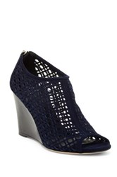 Aquatalia By Marvin K Shelly Cutout Wedge Bootie Blue