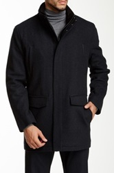 Andrew Marc New York Hearts Wool Blend Twill Coat Gray