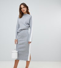 Micha Lounge Knitted Pencil Skirt With Side Stripe Co Ord Grey