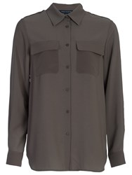 French Connection Pippa Plains Classic Shirt Dark Olive Night