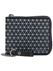 Diesel Chain Pattern Zipped Wallet Men Cotton Leather Polyurethane One Size Black