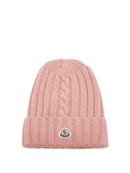 Moncler Ribbed Knit Wool Beanie Hat Pink