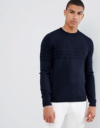 Emporio Armani Intarsia Logo Knitted Crew Neck Jumper In Navy