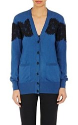 Lanvin Lace Appliqued Cardigan Blue