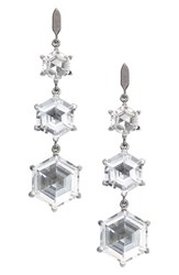 Dean Davidson Women's Triple Octagon Linear Drop Earrings Gunmetal White Topaz