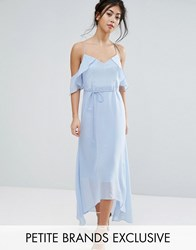 True Decadence Petite Frill Cold Shoulder Cami Maxi Dress With Ruffle Hem Detail Ice Blue