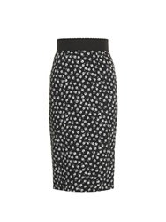 Dolce And Gabbana Micro Rose Print Cady Pencil Skirt
