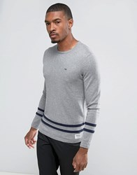Tom Tailor Knitted Sweater With Hem Stripes Gray