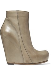 Rick Owens Glossed Leather Wedge Ankle Boots Gray Green