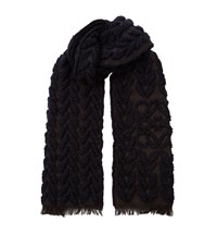 Loewe Chunky Cable Knit Scarf Unisex Navy