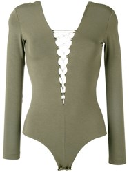Alexander Wang T By Lace Front Long Sleeve Bodysuit Green