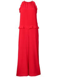 Red Valentino Sleeveless Wide Leg Jumpsuit Red