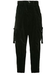 Song For The Mute Cargo Style Cropped Trousers Black