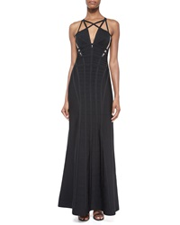 Herve Leger Sleeveless Cage Cutout Gown Black