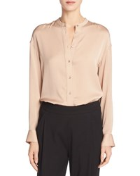 Vince Band Collar Stretch Silk Pintuck Placket Blouse White