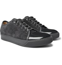 Lanvin Cap Toe Suede And Patent Leather Sneakers Gray