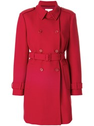 Red Valentino Classic Fitted Coat Women Cotton Polyester Spandex Elastane Wool 42 Red