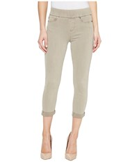 Liverpool Sienna Pull On Rolled Cuff Capris In Pigment Dyed Slub Stretch Twill In Pure Cashmere Pure Cashmere Women's Jeans Gray