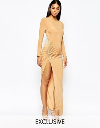 Club L Slinky Ruched Detail Dress With Extreme Low Back Deeptan
