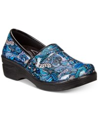 Easy Street Shoes Works By Lyndee Slip On Clogs Women's Blue Pop Patent