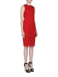 Givenchy Sleeveless Ruched Tulle Stripe Dress Red